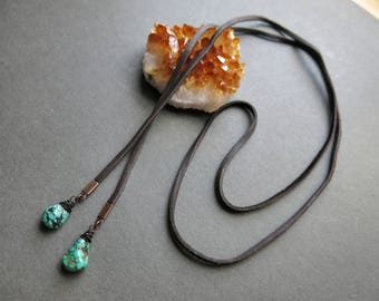 Leather Lariat Necklace - Leather Choker - Turquoise Lariat Necklace - Leather Wrap Necklace - Double Wrap Necklace - Turquoise Choker