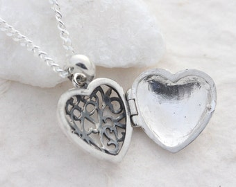 silver Heart lockets, solid sterling silver locket necklace, Silver locket necklace, sister, graduation mother's, sweet 16 gift, friend.R-38
