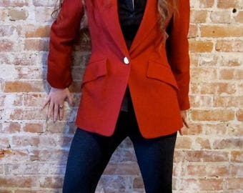 50% Off Wool Sale Hermes Vintage Wool Cashmere Blazer 1980s - Riding Blazer - Wool Jacket - Size EU 38