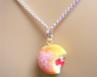 Food Jewelry, Jelly Donut Necklace, Jam Doughnut Necklace, Donut Pendant, Miniature Food, Mini Food, Do Nut Necklace, Kawaii Necklace, Sugar