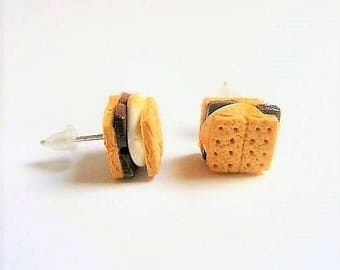 Food Jewelry Smores Miniature Food Earrings - Miniature Food Jewelry,Handmade Jewelry,Mini Food Jewelry,Dolls House
