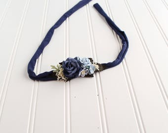 Life is Bluetiful - dainty style jersey knit tieback in navy blue, light blue, dusty blue and cream  (RTS)