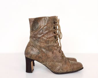 Vintage Textured Leather Lace Up Victorian Chunky Heel Ankle Boots // Women's size 6 6.5