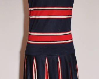 Adorable Vintage 60's Mod TWIGGY Carnaby Mad Men Retro Red White and Blue Scooter Dress Small to Medium
