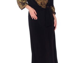 1930s 34 Sleeve Wrap Top Dress With Lamé Size: S