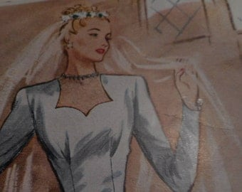 Vintage 1940's McCall 6353 Bridal Gown Sewing Pattern, Size 16 Bust 34