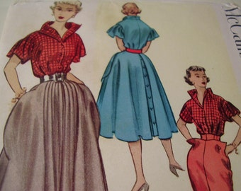 RARE 1950's McCall's 9133 Adaptation of an Italian Couture Design Blouse, Skirt and Slacks Sewing Pattern, Size 14, Bust 32