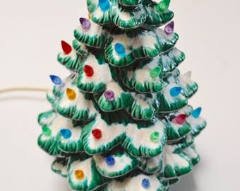 vintage ceramic christmas tree light up vintage holiday tree with snow tip frosted - Ceramic Christmas Trees With Lights