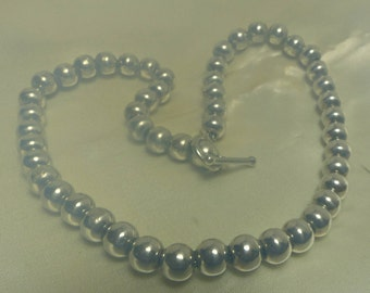 """Sterling silver bead necklace-48 grms-8mm beads-toggle clas-hallmarked-1941--15"""" long"""