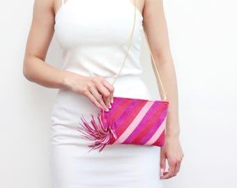 Small shoulder bag. Natural leather purse. Small statement purse. Crossbody bag. Stripe pattern bag. Large tassel. Color block./ CANDY 4