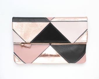 Large leather bag. Fold over clutch. Geometric purse. Statement bag.Metallic natural leather.Black rose gold and nude handbag. /PRISM 33