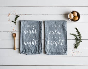 Christmas Tea Towel Set of 2 • Silent Night Holy Night, All Is Calm All Is Bright Design • Modern Farmhouse Christmas Decor • FREE SHIPPING