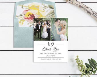 Wedding Thank You Card Printable - Modern Wedding Thank You Card - Photo Thank You Wedding