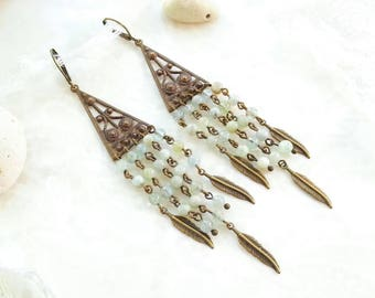 "Fantasic Long Boho Style Chandelier Earrings with Jadeite ""Feathers"" by Victorian Jewelry Box"