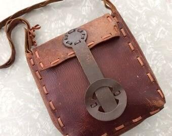 Brown Leather Purse - Vintage 70s Boho Bag