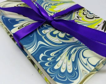Blue Purple Peacock Marble Pattern Watercolor Sketchbook Meander Journal Album Pocket Book Small