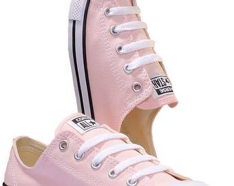 Converse Dainty Blush Pink Wedding Custom Bride Kicks w/ Swarovski Crystal Jewel Rhinestone Bling Chuck Taylor All Star Trainer Sneaker Shoe