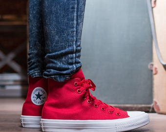 Bright Red Converse High Top Mens Ladies Chuck Taylor II Monochrome Canvas w/ Swarovski Crystal Rhinestone Jewels All Star Sneakers Shoes