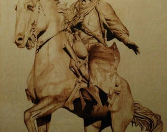 Woodburn art The Trail Boss BURNED on Baltic Birch board pyrography wall art