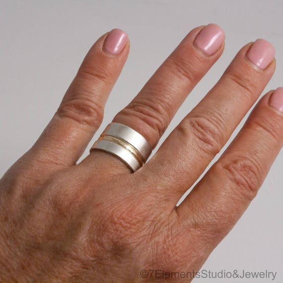 Silver and Gold Stacking Ring Set, Hammered Gold and Satin Silver Rings