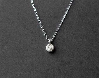Handmade Tiny Silver Necklace - Sterling Silver Necklace - PMC Jewelry - Metalwork - Silver Jewelry