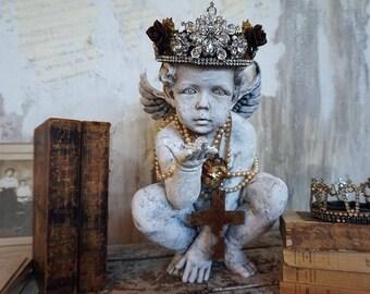 Ornate cherub statue French Santos handmade rhinestone crown farmhouse angel figure embellished w/ pearls home decor anita spero design