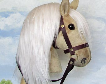 Hobby Horsing smaller palomino hobby horse (stick horse) top quality with removable leather bridle. For younger children.