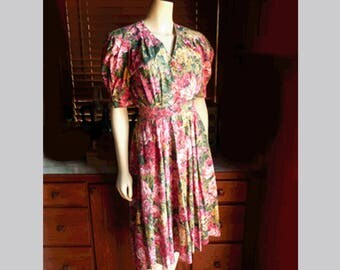 Vintage 90s Carol Anderson California Bright Floral Button Front Dress XS S
