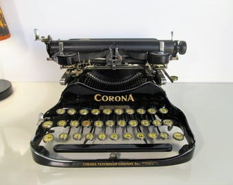 Rare Antique Typewriter ''CORONA'' Working Folding Flip Portable Typewriter Black Typewriter with Original Case Made in United States 1917