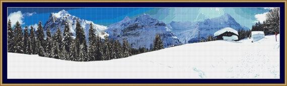 Snowy Panorama Cross Stitch Pattern /Digital PDF Files /Instant downloadable
