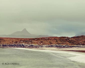 Atlantic Ocean, Beach Photography, Nautical Decor, Landscape Photography, Beach Decor, Scottish Achnahaird Beach Mountains, Blue Wall Decor