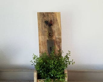 Vintage hardware on Wood Wall Pocket Hanging Planter Wood Box with Faux Plant Farmhouse