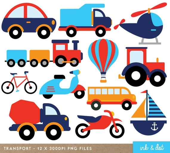 transport clip art cute cars train helicopter truck