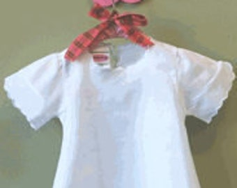 100% Cotton Monogrammed Baby Dress with set in sleeves and scalloped hem