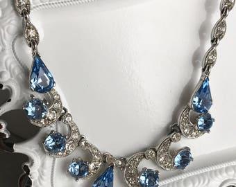 vintage rhinestone choker necklace bogoff designer silver toned clear light blue mid century art deco links bride bridal wedding