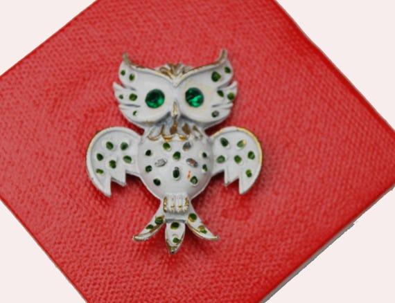 Reserved forMary Owl Brooch - White Enamel - Green Rhinestone- Mid Century figurine bird pin