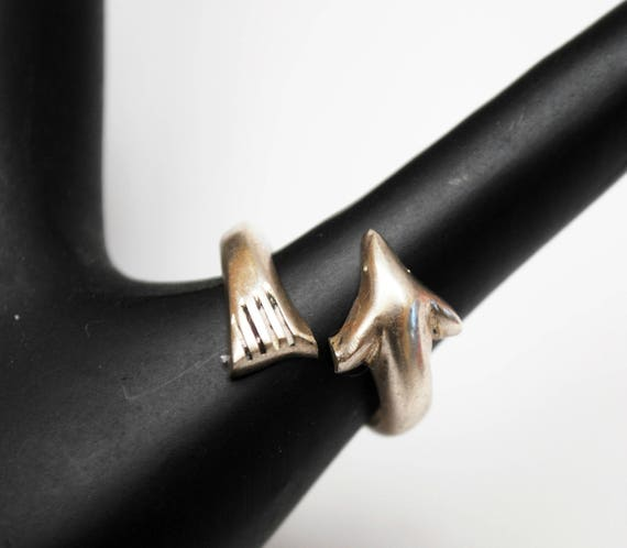 Sterling Cuff Ring  - Silver Dolphin - Mexico Signed -Arrow ring