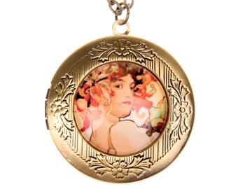 Necklace locket Fruit Alphonse Mucha 2020M