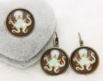 SET earrings and ring octopus 1616