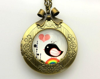 tiny bird cute Necklace locket  2020m