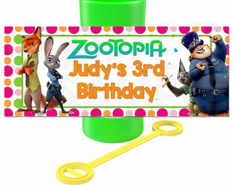Zootopia inspired Birthday Party Printable Party Bubble Labels- DIY File