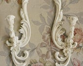 Vintage Pair of Shabby Chic Painted Distressed Wall Sconces / Cream / Ornate Wall Decor