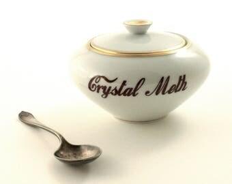 Crystal Meth, Adult Humor, Addiction Drug, Altered Art, Vintage Porcelain 70's, Lidded Sugar Pot, Redesigned, Whimsical Gift, Fun Gift Ideas