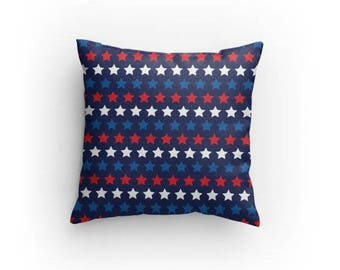 Fourth of July Decor Red White and Blue Stars Decorative Throw Pillow Americana Home Decor Patriotic America Gift for Mom Gift for Wife