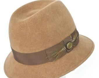 Camel Fur Felt Velour Women's Fedora, Casual Winter Hat, Vintage Trim