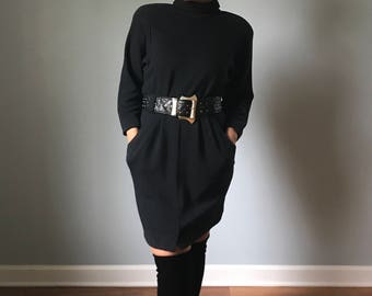 Vintage 80s Dolman Sleeve Black Sweater Dress