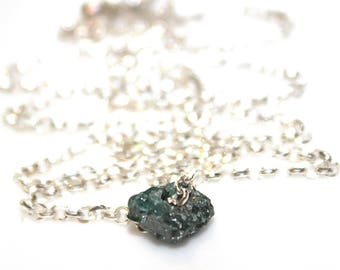 Blue Diamond Nugget Necklace Raw Diamond Necklace Delicate Jewelry Real Diamond Jewelry Authentic Diamond Stacking Bridal Necklace Wedding