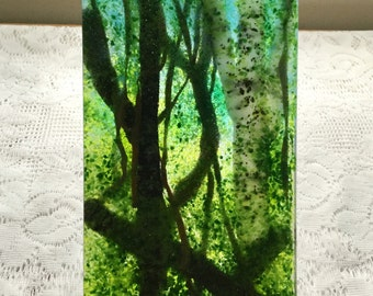 Fused Glass Art, Forest Woods Glass Painting, Frit Painting, Tree Art