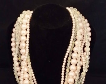 Pink Faux Pearl Beaded Necklace