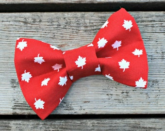 Bow Tie for Dog, Bowtie for Cat, Pet Clothing, Animal Clothes, Maple Leaf, Leaves, Canadian, Made in Canada, Red and White